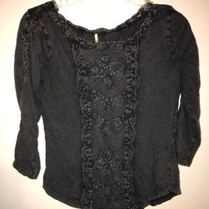 Free People Top Blouse Gray Small